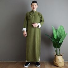 Costume Tang flocon de neige Satin pull Long Style chinois tendances nationales mi-long col montant manches roulées Robe couleur unie