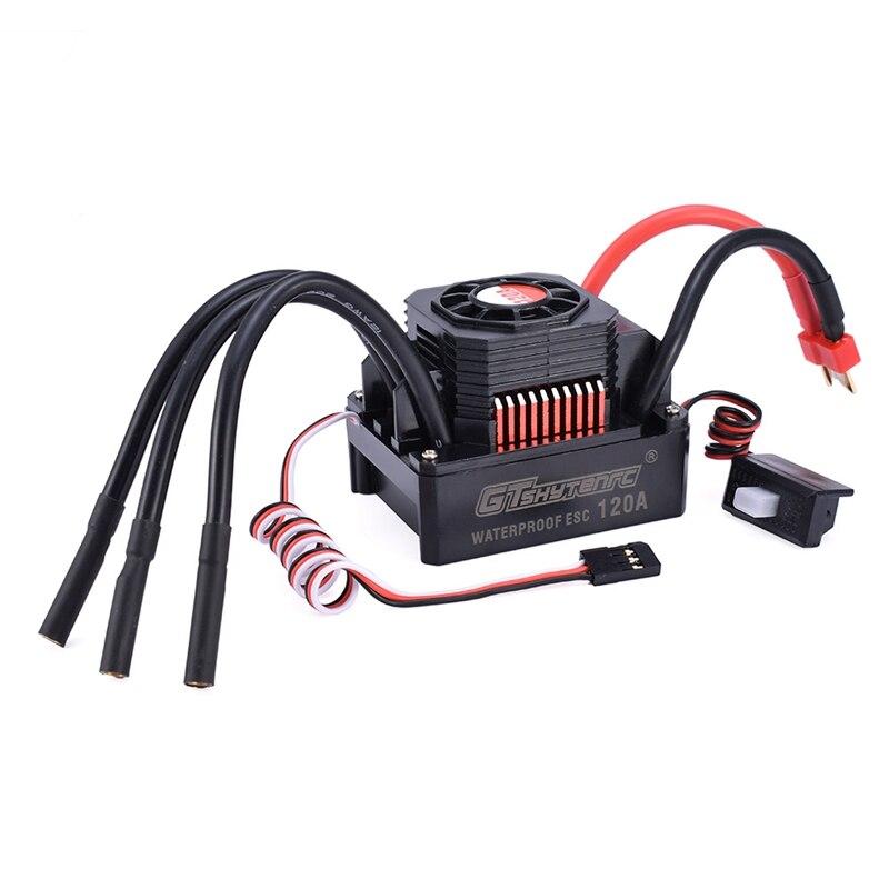 GTSKYTENRC مقاوم للماء 120A ESC الكهربائية سرعة المراقب المالي ل RC 1/8 RC سيارة 4076 4068 فرش السيارات