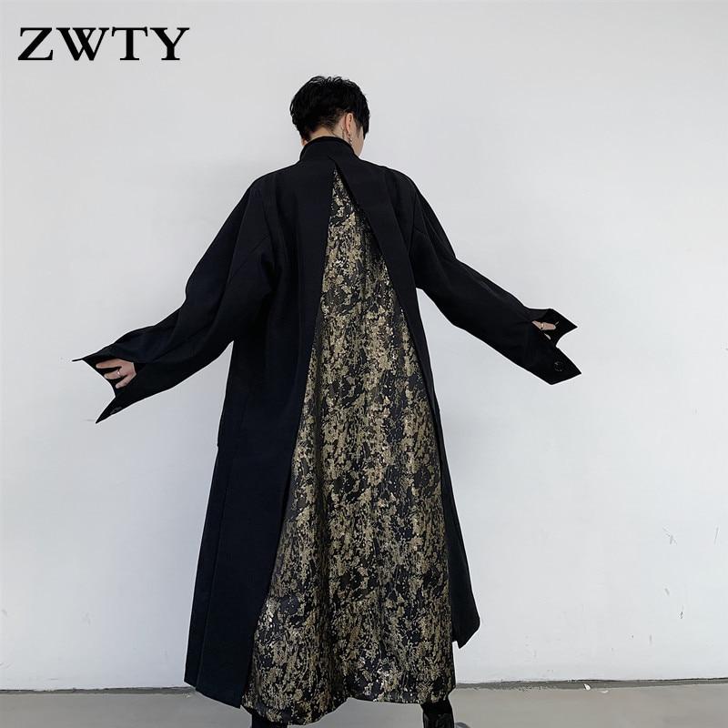 ZWTY الرجعية طويلة سترة واقية الرجال فضفاض وسيم الإفراط في الركبة معطف الربيع الخريف شخصية خياطة معطف معطف