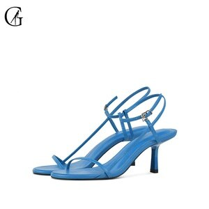 GOXEOU Women's Sandals PU Ankle Strap Brown Blue White Red Camel Black Party Fashion Office Lady Shoes Size 35-40