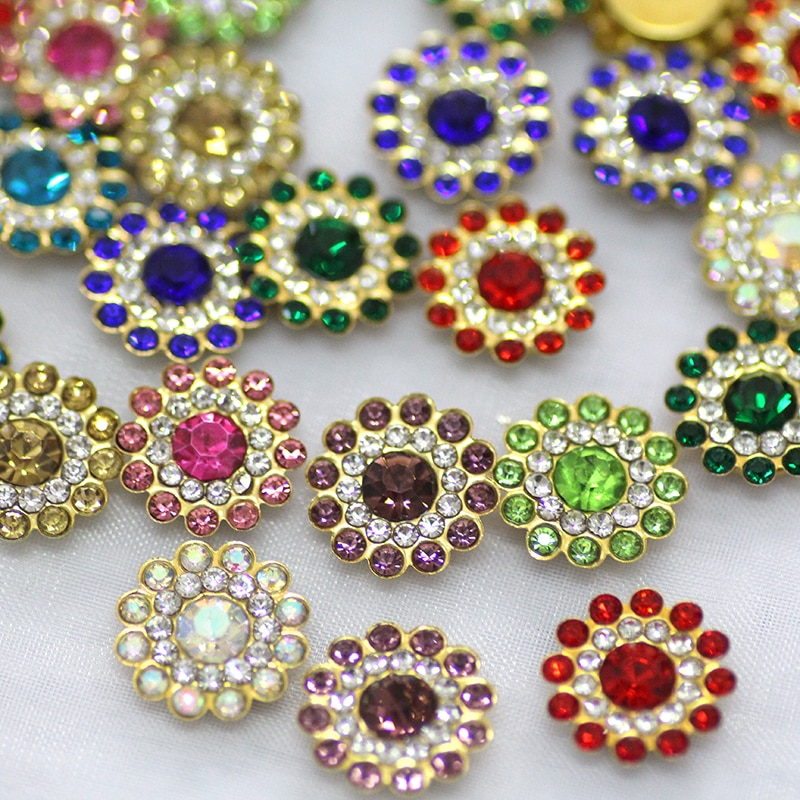 50pcs 14mm Mix Color Sew On Rhinestones With Gold Flatback Flower Shape Crystal Glass Strass For Wedding Party Dress Decoration