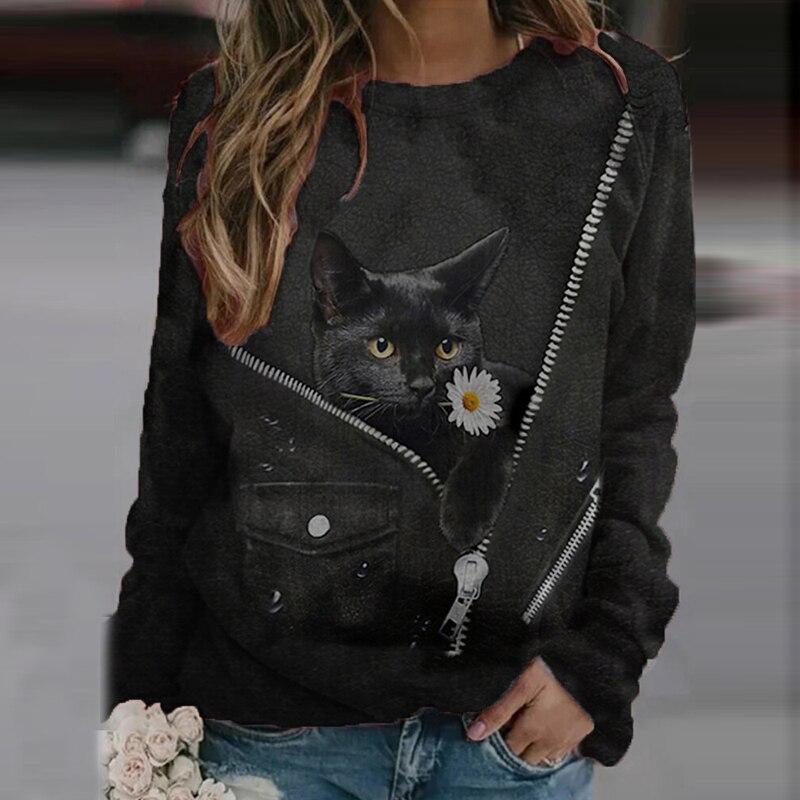 Moda nova camisa feminina desenhos animados gato imprimir o pescoço feminino pulôver camisa casual solto manga longa retalhos senhora camisa de rua
