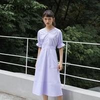 ziqiao casual dress summer 2021 dresses women purple v neck french dress retro back zipper puff sleeve wood ears long skirt