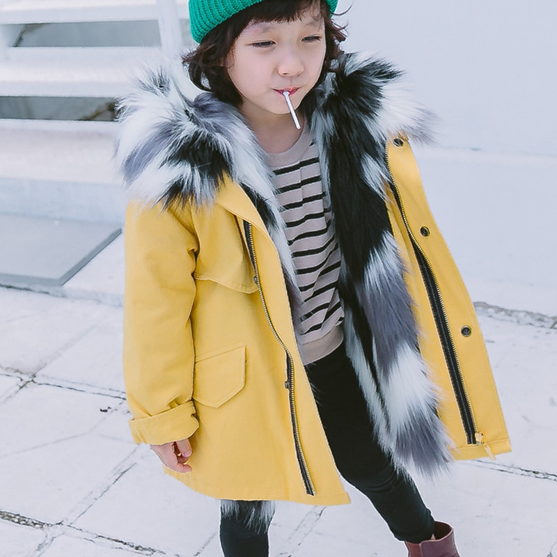2021 Winter Warm Boys Parkas Jacket Hooded Faux Fur Teenager Girls Coats Outdoor Windproof Children Outerwear Kids Snow Clothes enlarge