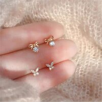 1 pair delicate butterfly stud earrings for women spark cubic zirconia engagement party earrings jewelry