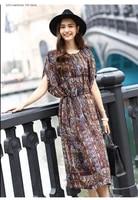 2020 summer new fashionable womens high end silk dress long loose lace up silk dress
