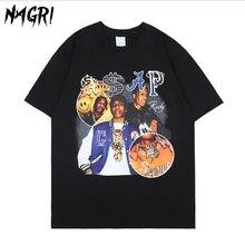 NAGRI Asap Rocky t-shirt męski hiphopowy sweter Harajuku Vintage T shirt grafika drukowana na co dzień koszulka z krótkim rękawem