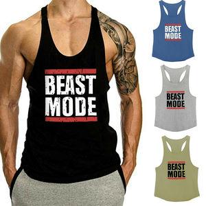 Men Beast Mode Print Tank Tops Muscle Gyms Workout Bodybuilding Y Back Sleeveless Vest Stringer Singlets Shirt Musclewear