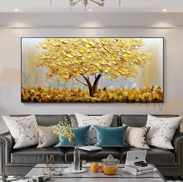 100% New Handmade Large Gold money Tree Painting Modern landscape Oil Painting On Canvas Wall Art Picture For Home Office Decor