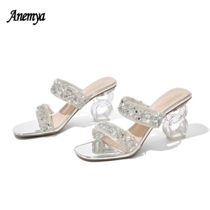 Silver Rhinestone Casual Sandals Women Open Toe Shallow Slippers Thick Heel Fashion 5CM High Heels Woman Diamond Black For Party