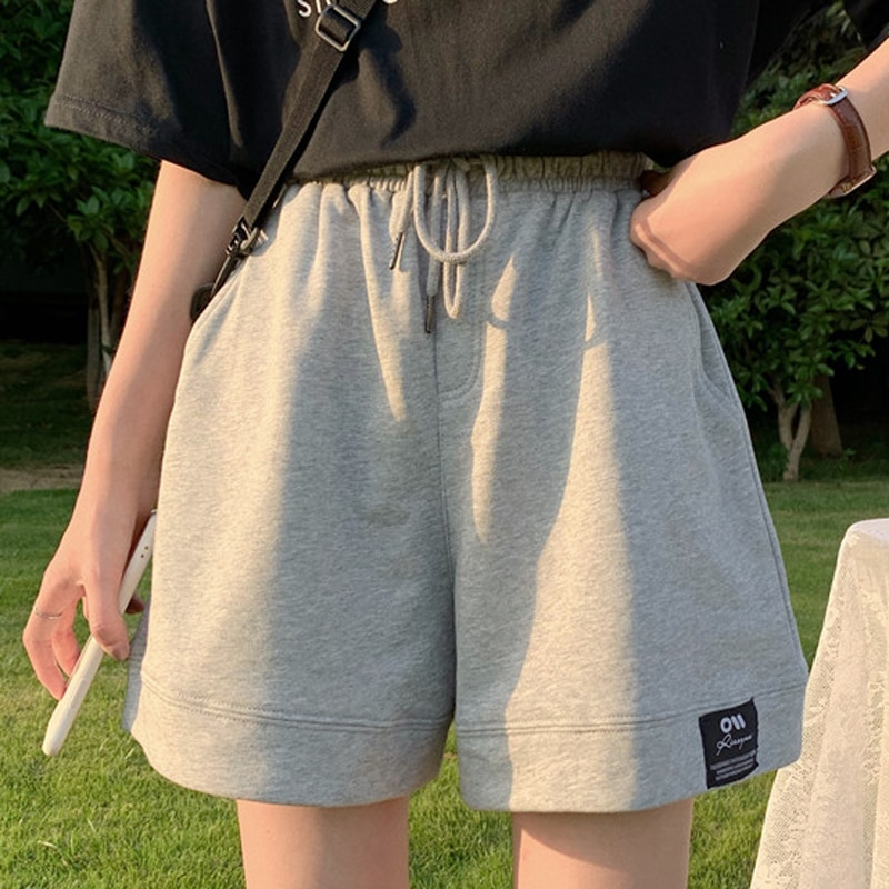 DAYIFUN Pants Women Summer 2021 Korean Loose Straight Ins Harajuku Style Casual Knee Length Elastic Waist Wide Leg Sports Shorts