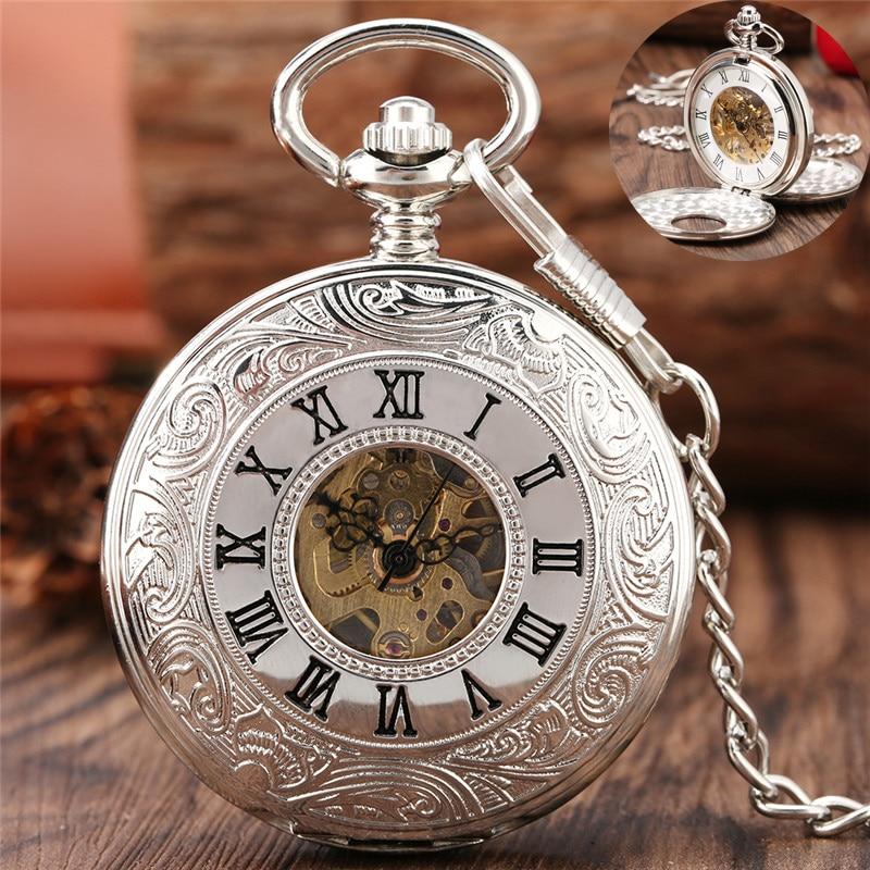 Steampunk Silver Handwinding Mechanical Pocket Watch for Men Women Double Hunter Roman Number Dial Pendant Necklace Chain Reloj