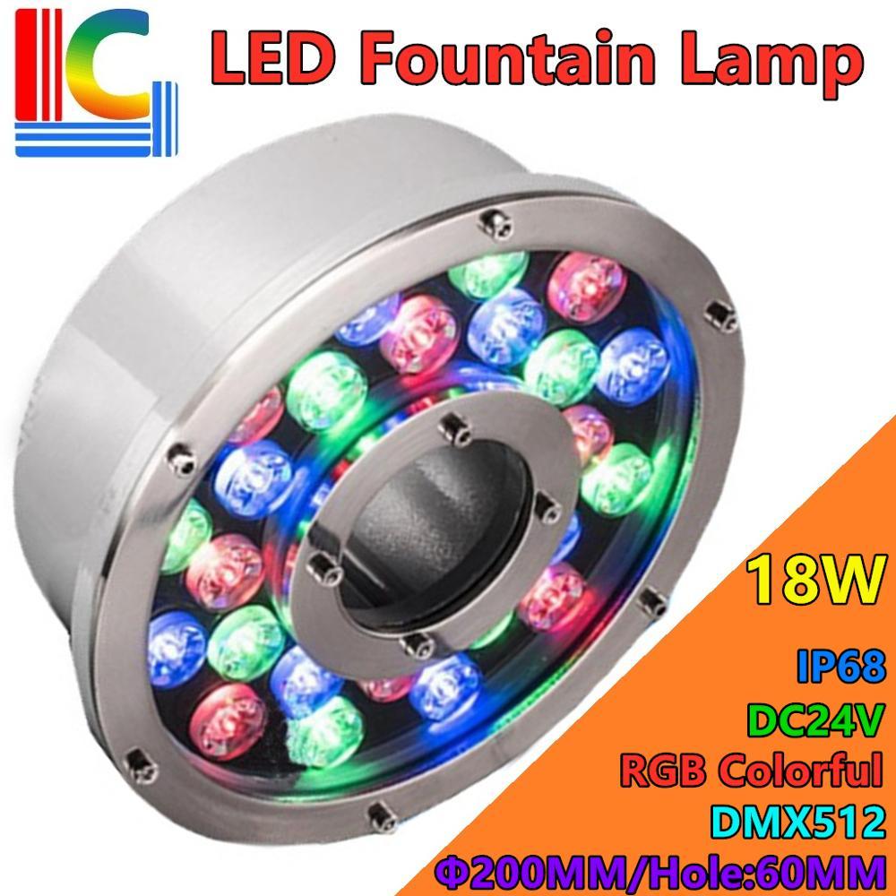 18w conduziu a lampada fonte rgb colorido dmx512 24v luzes subaquaticas ip68 tanque
