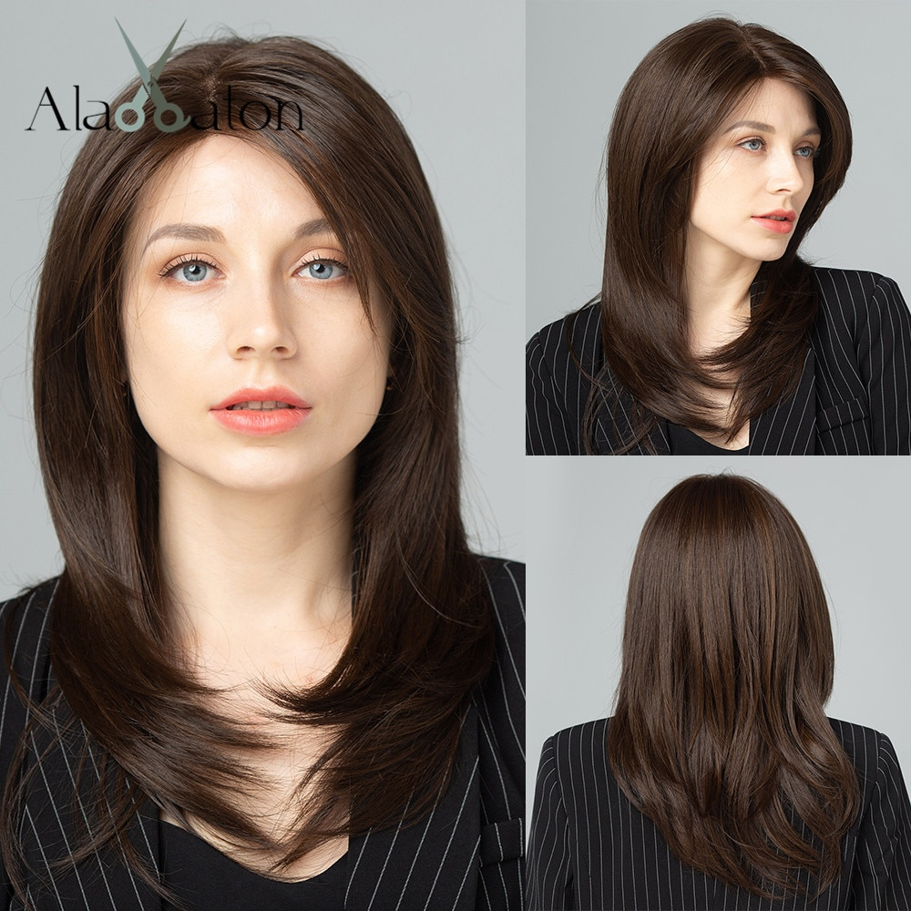 ALAN EATON Hand Tied Mono Lace Front Synthetic Hair 100% Futura Free Part Dark Brown Layered Natural Medium Wave Women Lace Wig