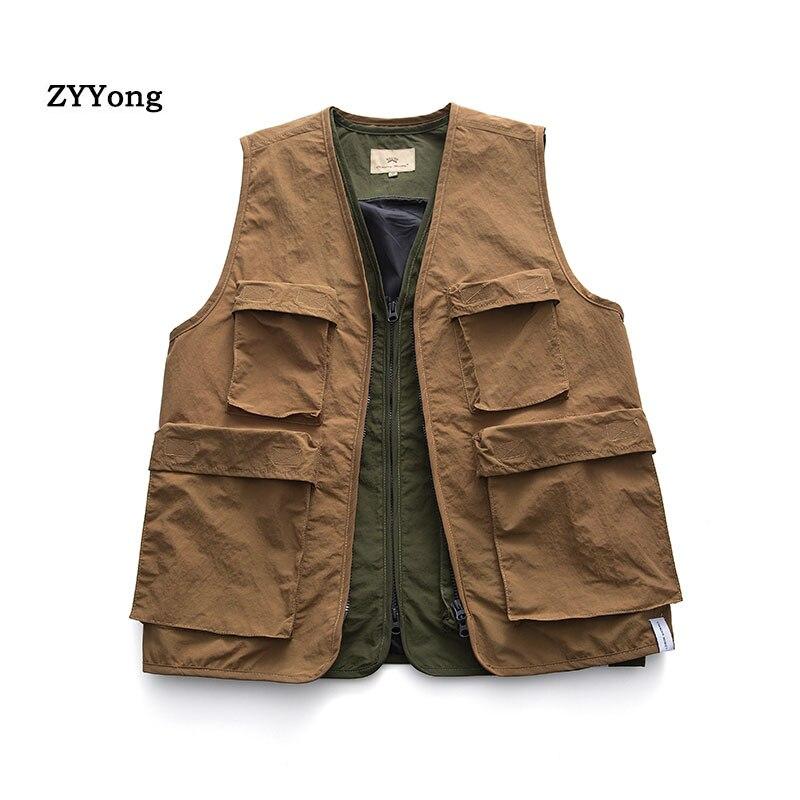 Мужские жилеты, мужские жилеты с карманами, осенне-весенний жилет, куртка на плечо, корейская мода, однотонные пальто