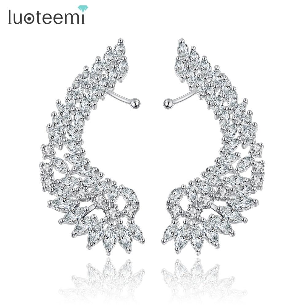 LUOTEEMI corea del estilo de cristal brillante de gran alas de Ángel pendientes de gota bisutería Femme Brincos de la joyería para las mujeres joyería para fiesta y boda