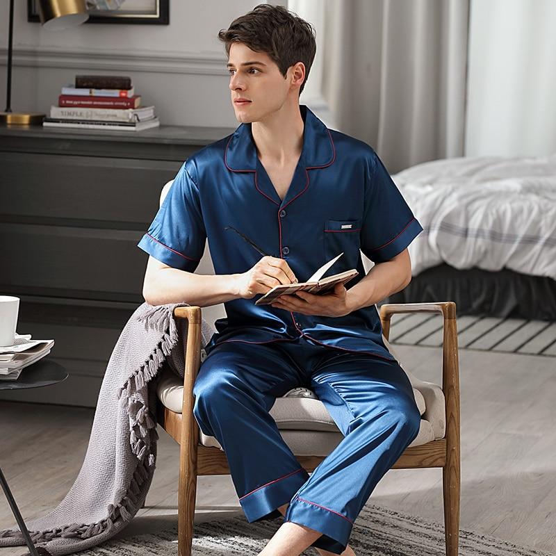 Пижамы мужские летние короткие рукав длинные брюки из двух частей пижама комплекты лед шелк тонкие мужские пижамы домашняя одежда 9007