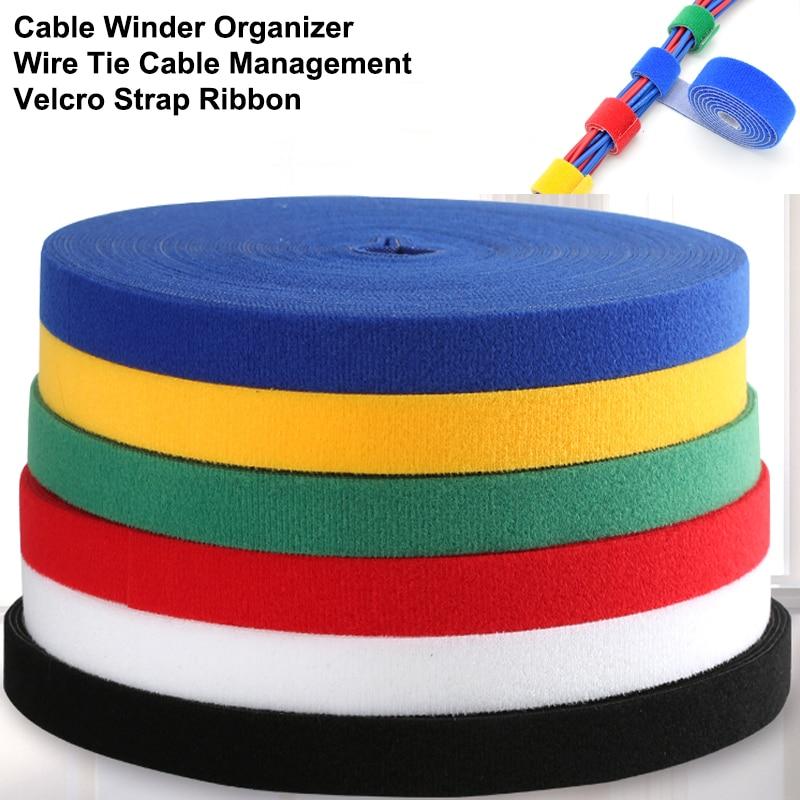 5M DIY reutilizable sujetacables de Nylon gerente Winder Cable Clip Cable lazos...