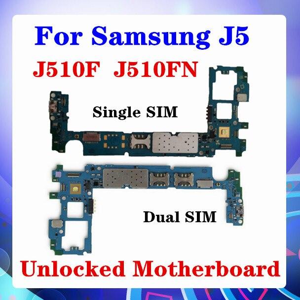 Para samsung galaxy j5 j510f j510fn placa-mãe único sim desbloqueado com chips android os j510f j510fn/ds placa-mãe sim duplo