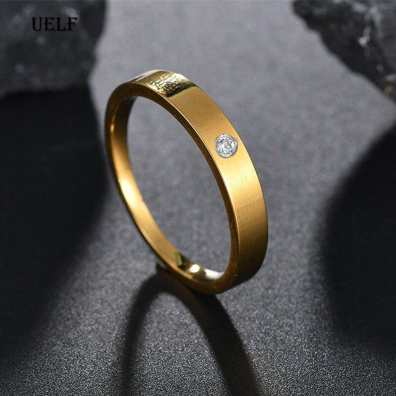 Uelf Marke Luxus Einzel CZ Strass Finger Ring Gold Farbe 316L Edelstahl Weibliche Engagement Ring Schmuck