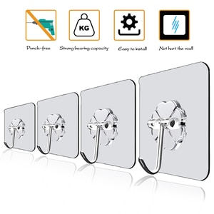 20/10 Pcs Hooks Transparent Strong Self Adhesive Door Wall Hangers Hooks Suction Heavy Load Rack Cup Sucker for Kitchen Bathroom