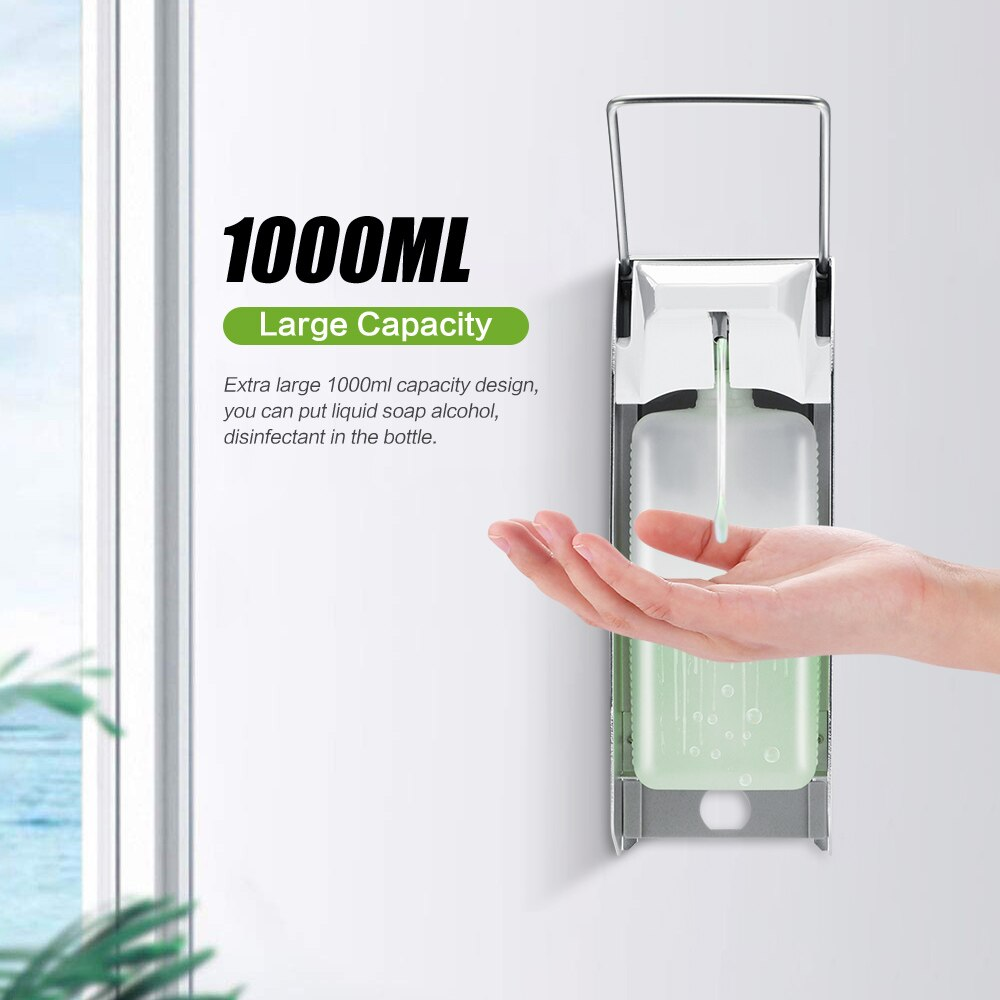 Dispensador de jabón de 1000ml, surtidor de loción y jabón de montaje en pared, dispensador de jabón de tipo Manual, dispositivo dispensador de sanitizador de codo
