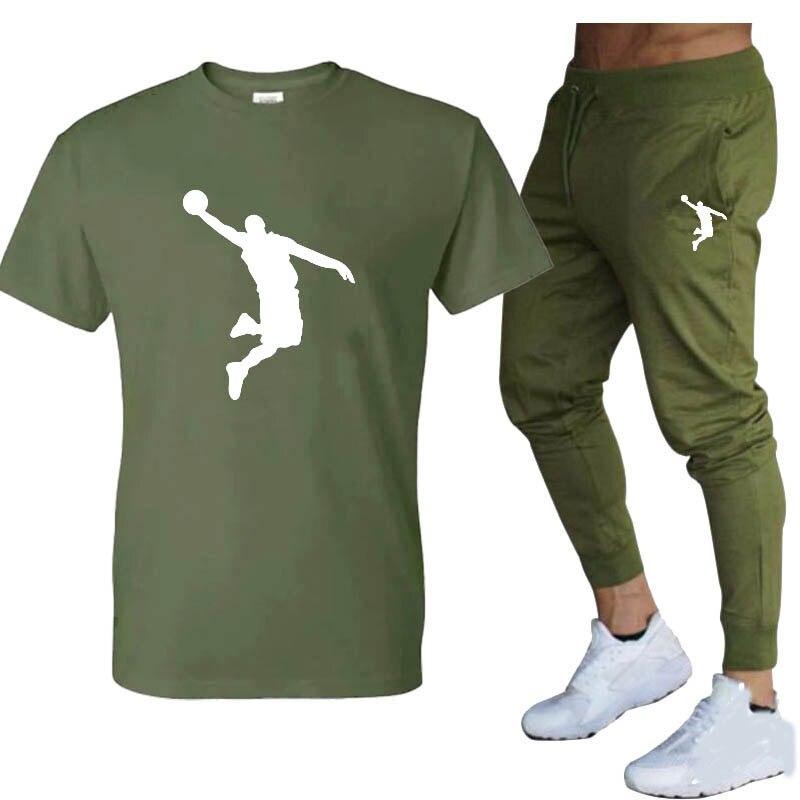 Лидер продаж, летний комплект из футболки и брюк, повседневные брендовые штаны для фитнеса и бега, футболки, модный мужской костюм в стиле хи...