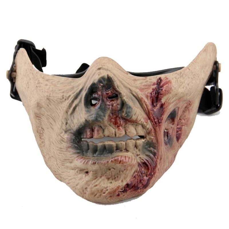 Зомби Череп тактические маски для пейнтбола на половину лица военной армии военных учений охота, страшно, Косплэй Хэллоуин вечерние маска д...