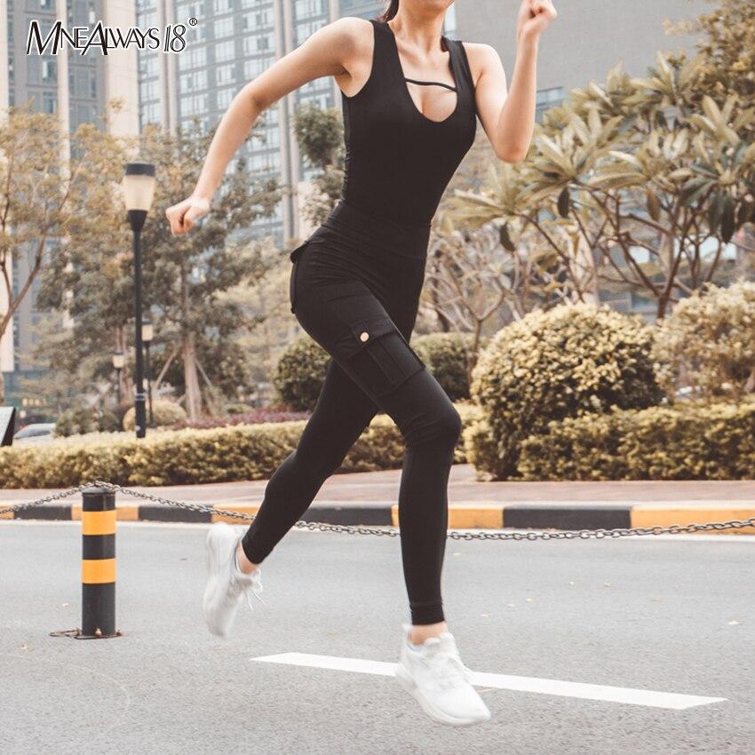 Mnealways18, pantalones ajustados de cintura alta para mujer, pantalones deportivos de otoño 2019, ropa de calle con bolsillos para mujer, pantalones elásticos para correr