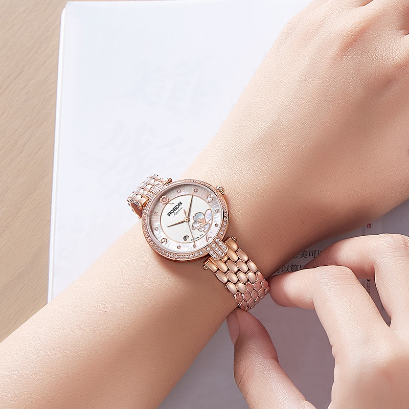 ROSDN new watch women's watch fashion trend four-leaf clover ladies' watch diamond-encrusted women's watch waterproof enlarge