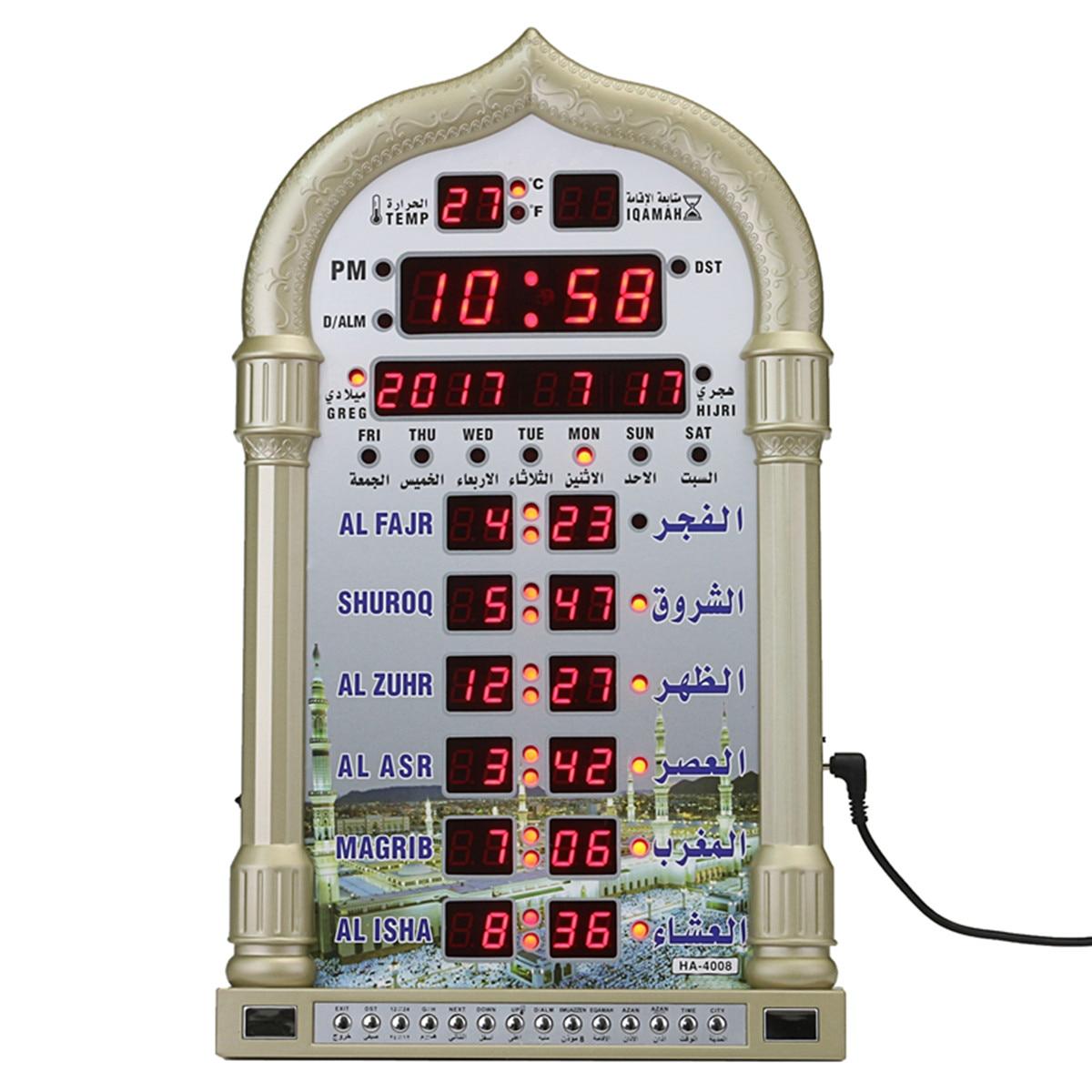 Reloj de oración para mezquita Azan, reloj de pared con calendario islámico, mezquita Azan, oración musulmana, Alarma para decoración del hogar de Ramadán + mando a distancia