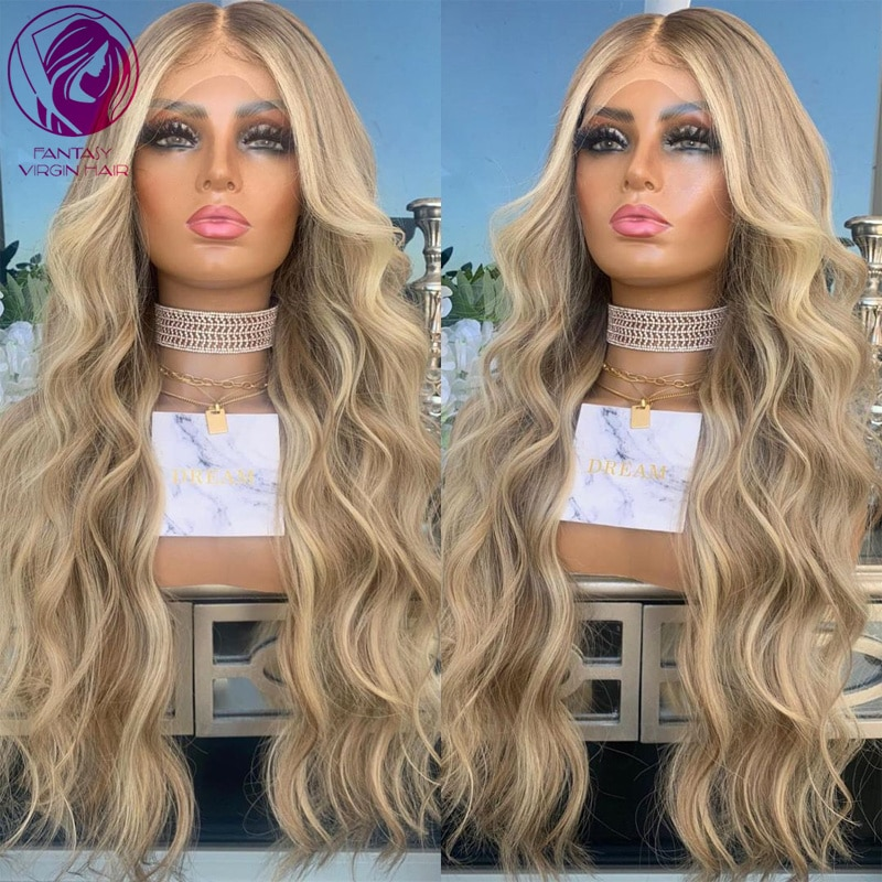 Ash Brown Blonde Balayage Human Hair Lace Front Wigs 13x4/13x6 Long Middle Part Loose Wave Remy Hair Wig Ombre Highlights 150%