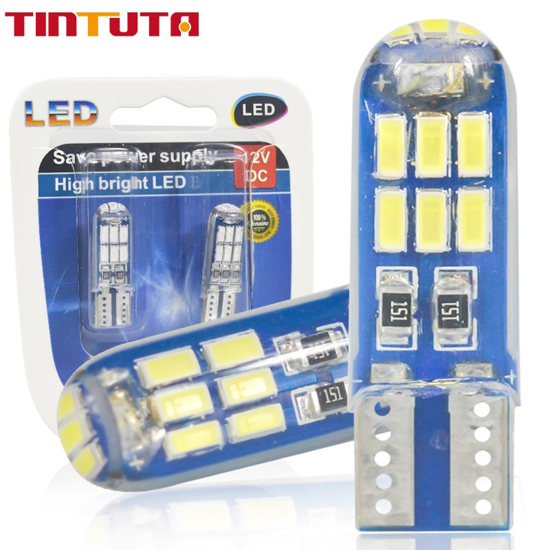 1PC T10  Strobe LED W5W Flash 194 168 Silica gel 15SMD Led Parking Bulb Auto Wedge Clearance LampCANBUS Silic