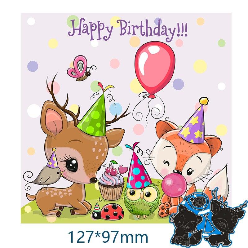Metal steel Cutting Dies Fox and sika deer celebrating birthday  DIY Scrapbooking Photo Album Embossing paper Cards 127*97mm