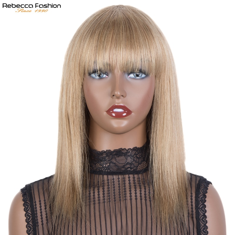Rebecca Blond Color Straight Human Hair Wigs With Bangs Brazilian Remy Full Machine Made Human Hair Wigs For Women Glueless Wig