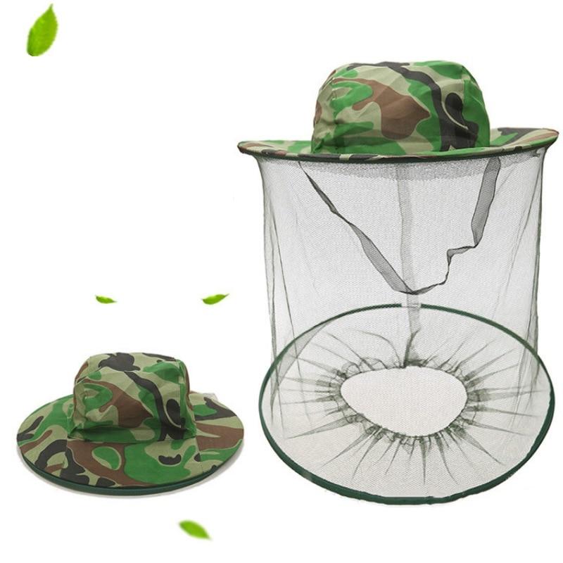 Gorros de pesca mosquitera ala ancha Anti insectos abeja mosca cubierta protectora de malla máscara facial sombrero de cubo apicultura apicultor W1