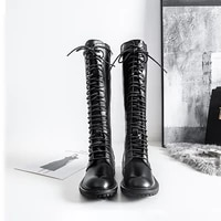 womens knee length long tube thick soled martin boots fall 2021 new style black microfiber round toe fashionparty womens boots