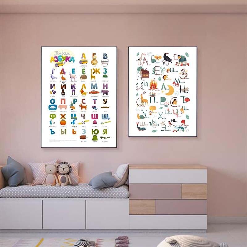 Póster de arte de pared con alfabeto ABC para bebé, pintura en...