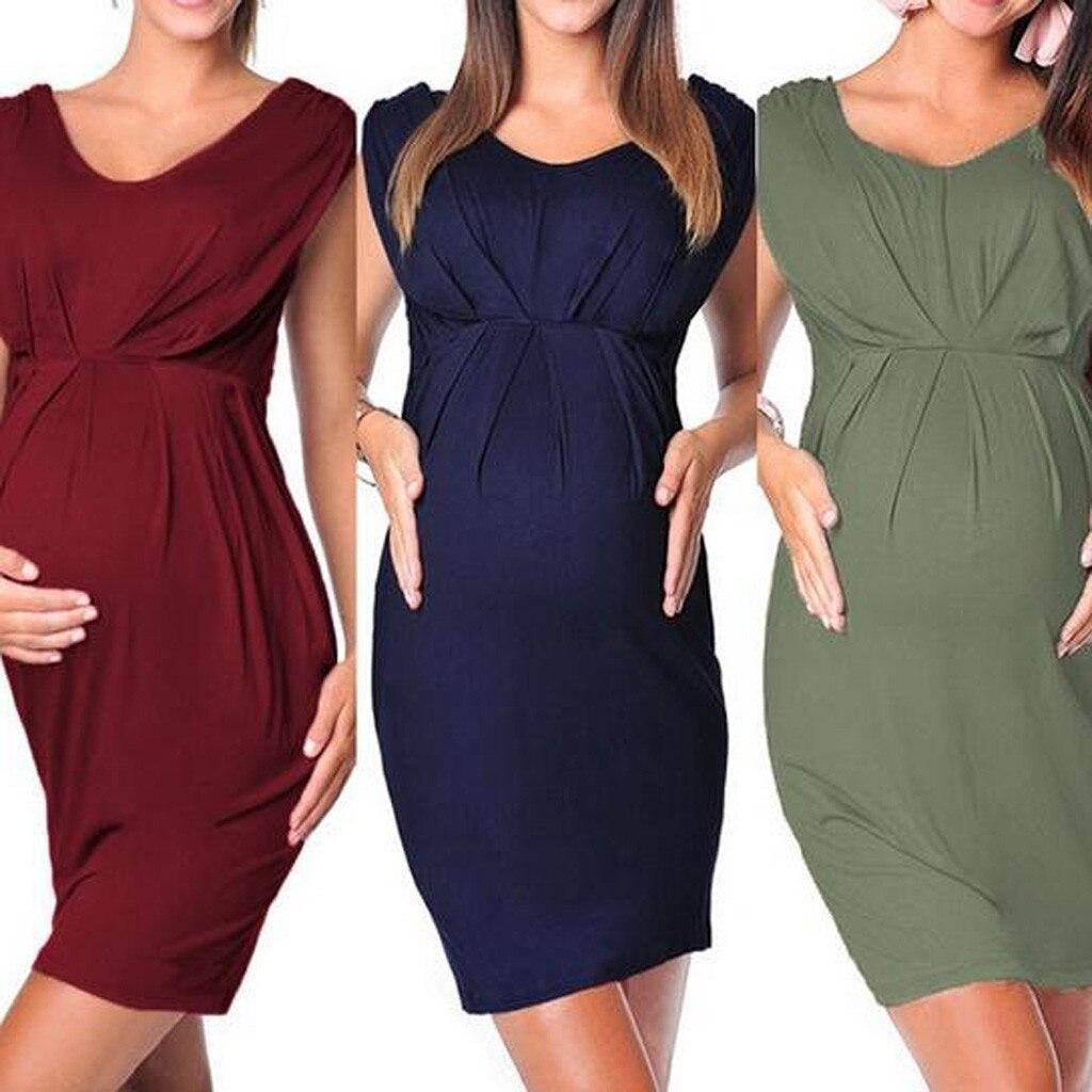 Maternity Dresses Pregnant Women Sleeveless Bodycon Sexy Solid Dress S