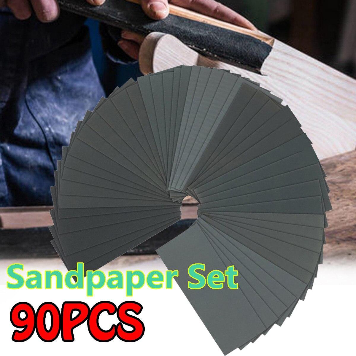 Folhas de papel impermeáveis abrasivas de lustro do grão do grupo 120-5000 da lixa seca molhada de 36/42/90 pces para a mobília de madeira de lixamento automotivo