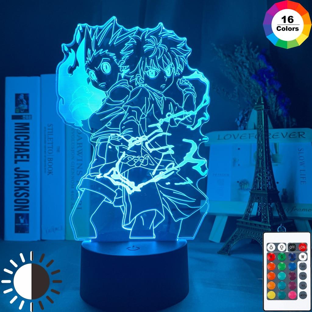 3d Lamp Anime HUNTER x HUNTER Gon and Killua Figure Nightlight for Child Bedroom Decor Light Fans Gift Kids Led Night Light