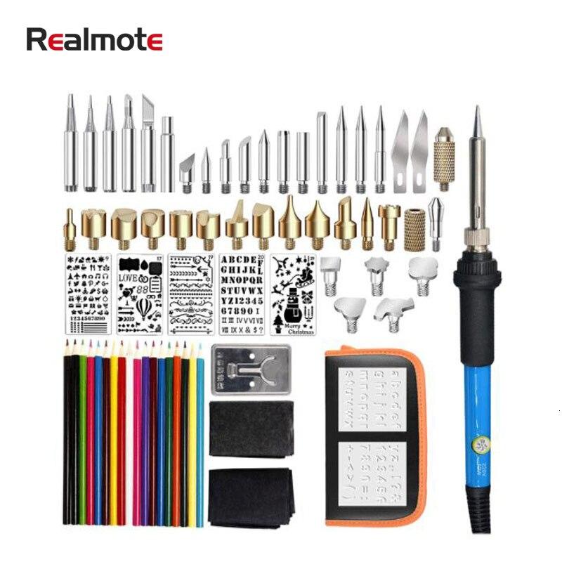 Traje de soldadura de pirograbado eléctrico Realmote, 71 piezas de grabado de hierro para soldar, estampado de moda, pirograbado