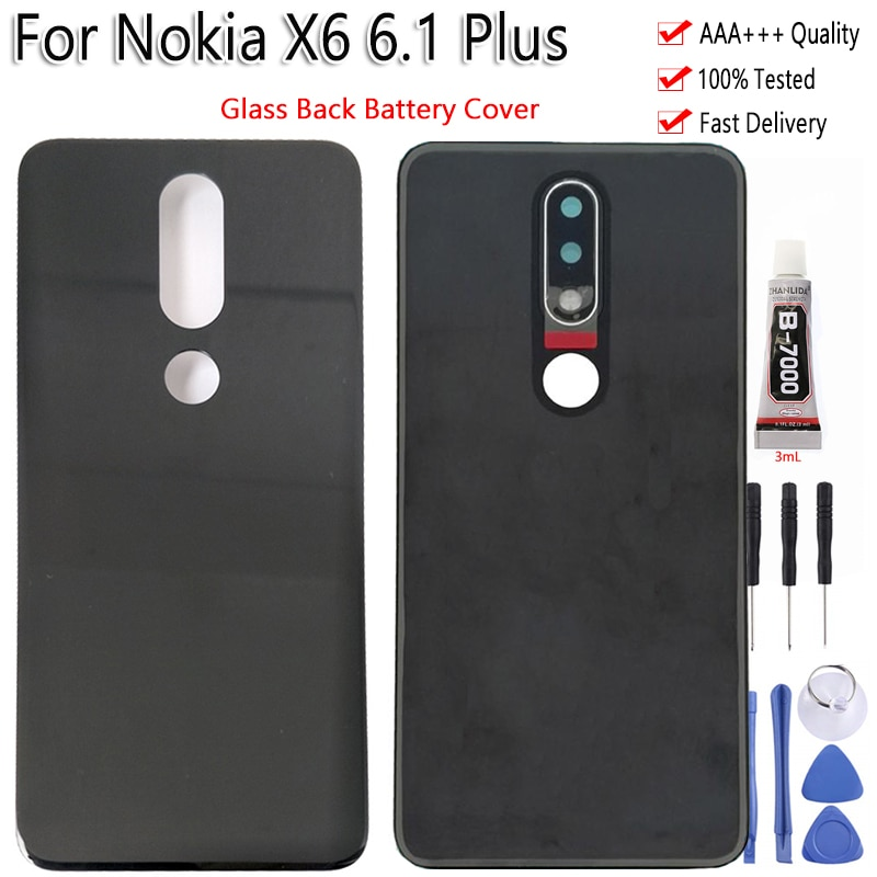 Para nokia x6 6.1 plus vidro traseira habitação bateria capa com peças de reparo adesivo