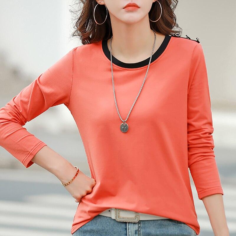 Женские футболки, осенняя футболка, женские футболки с длинным рукавом, корейская мода, Хлопковые женские футболки, одежда, повседневные то...