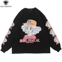 aolamegs sweatshirt cartoon comics print pullover cozy 3 color optional all match hip hop college style streetwear couple autumn