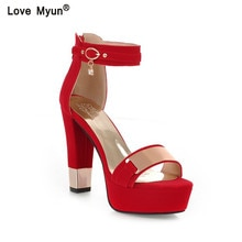 Women High Heels Sandals Summer Square Heels Crystal Heeled Platform Shoes Ladies Sexy Party Wedding