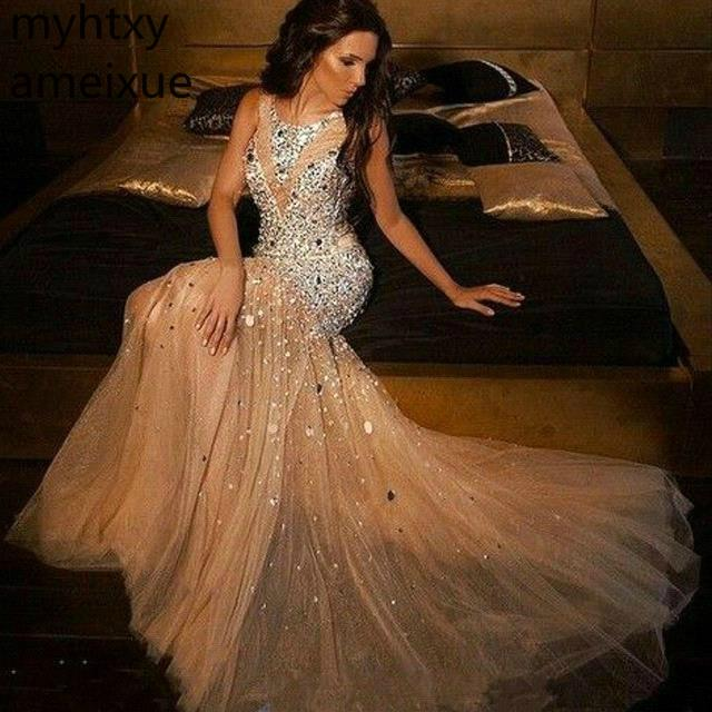 2020 Sexy Luxury Vintage Prom Dress Beadings Mermaid Long Tulle Formal Evening Party Gown Plus Size Prom Custom Dress Elegant