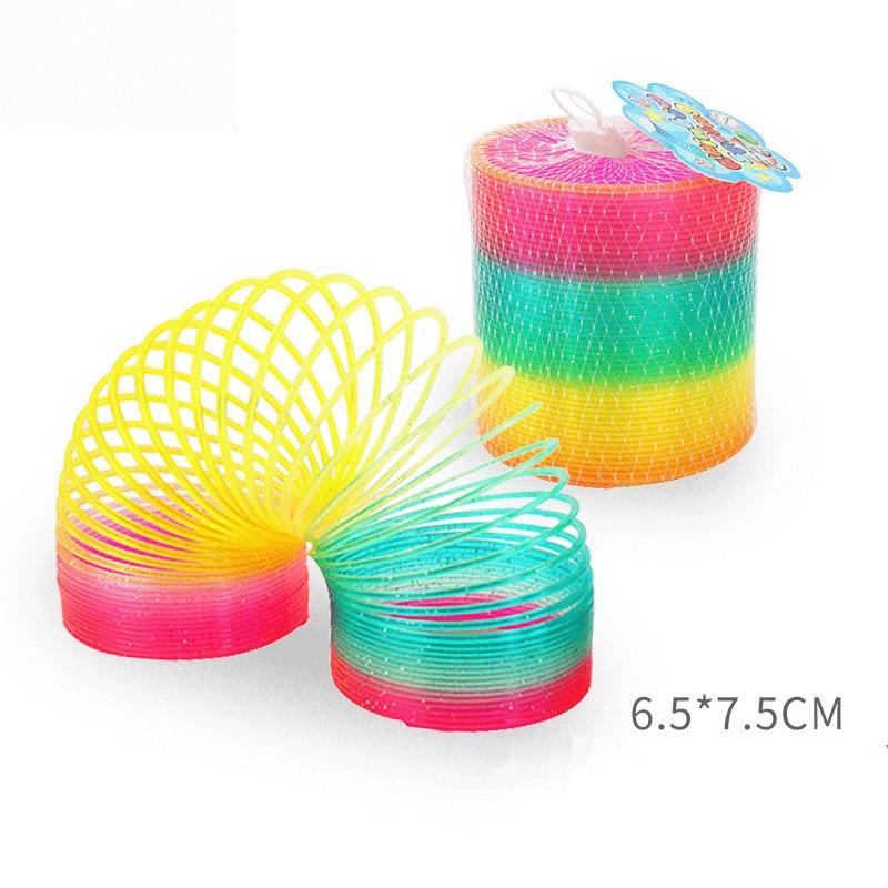 Muelle de arco iris juguetes de bobina de plástico plegable bobina de resorte juego de deportes niño juguetes creativos educativos divertidos regalo para niños