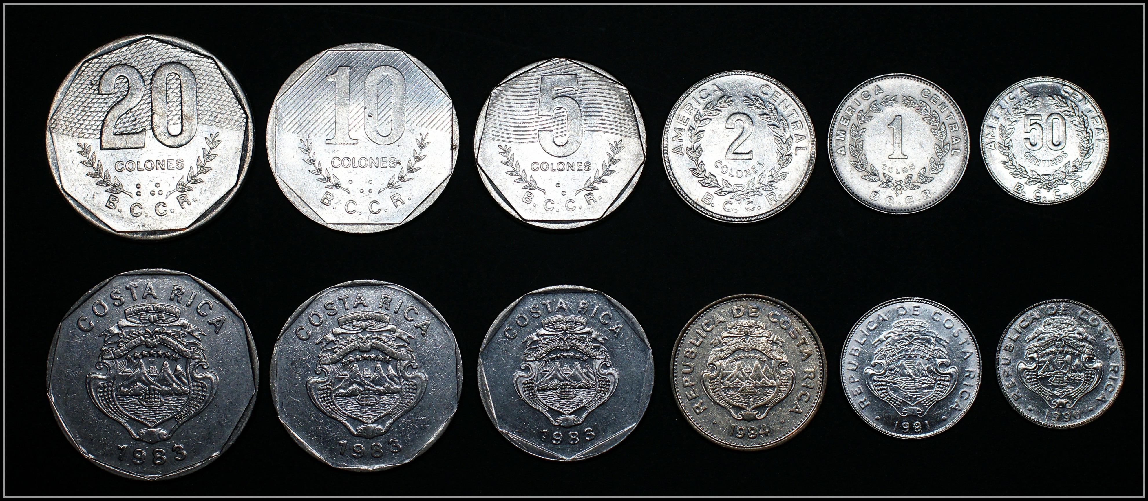 Juego de 6 monedas de Costa Rica, monedas originales de América, Edición Conmemorativa 100% Real