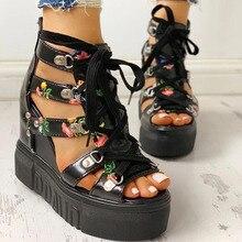 Femmes sandales 2020 talon haut décontracté ethnique fleur florale bout ouvert compensées plate-forme hauteur augmentant épais dames chaussures de fête